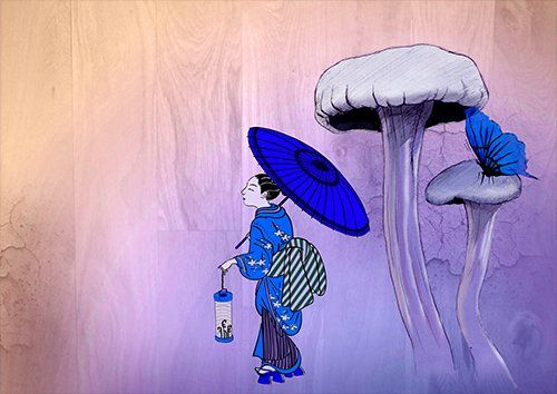Geisha Japan Mushroom Butterfly Japanese, Black colour - From £20.50 | Metal Plate Pictures