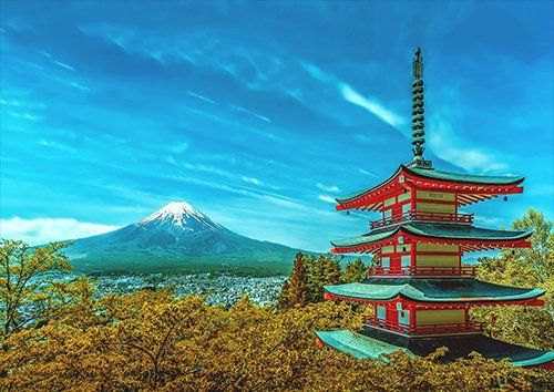 Japan Pagoda Fuji Volcano Snow Fall, Black colour - From £17.50 | Metal Plate Pictures