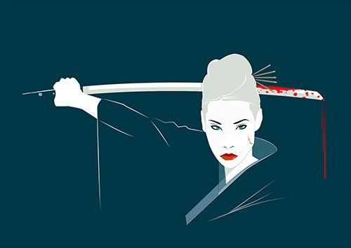 Lucy Liu Katana Kill-Bill, Black colour - From £17.50 | Metal Plate Pictures