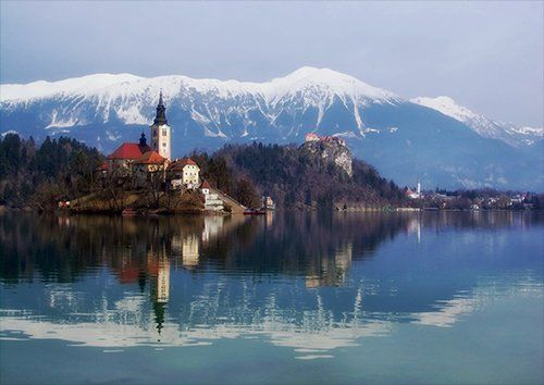 Bled castle lake blejski otok, Black colour - From £17.50 | Metal Plate Pictures