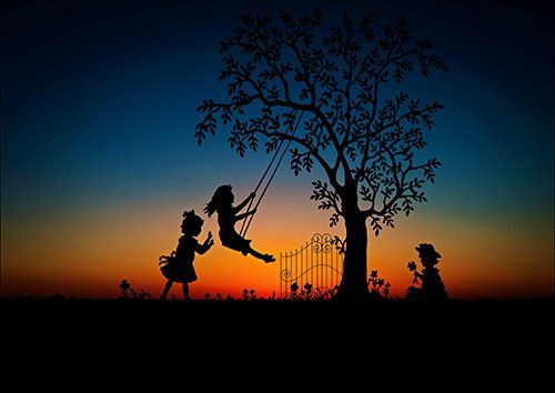 Children playing silhouette, Black colour - From £17.50 | Metal Plate Pictures