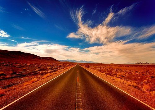 Desert Road Highway Travel Sky Clouds, Black colour - From £17.50 | Metal Plate Pictures