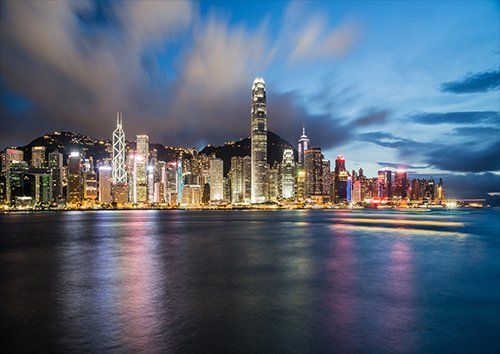 Hong kong at night, Black colour - From £20.50 | Metal Plate Pictures