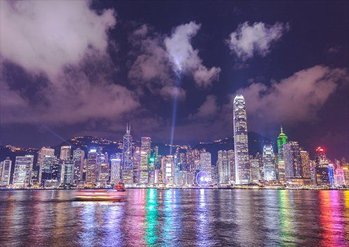 Hong kong china skyline, Black colour - From £17.50 | Metal Plate Pictures
