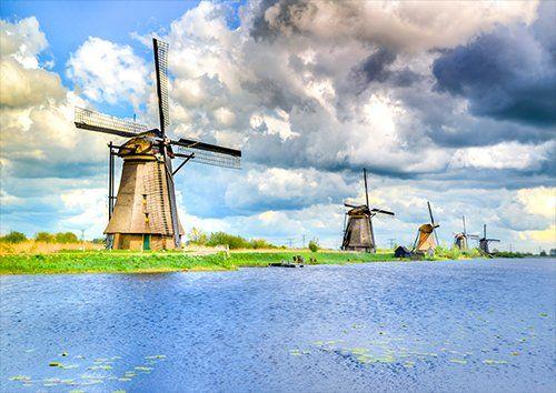 Kinderdijk dutch windmill landscape, Black colour - From £17.50 | Metal Plate Pictures