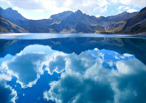 Luner lake with amazing blue sky, Black colour - From £17.50 | Metal Plate Pictures