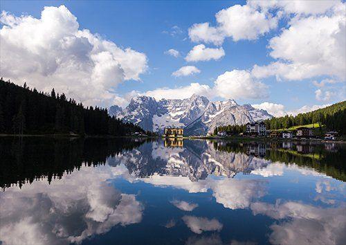 Misurina italy lake in veneto lake in dolomites, Black colour - From £17.50 | Metal Plate Pictures