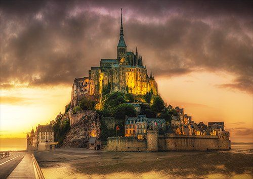 Mont st michel, Black colour - From £17.50 | Metal Plate Pictures