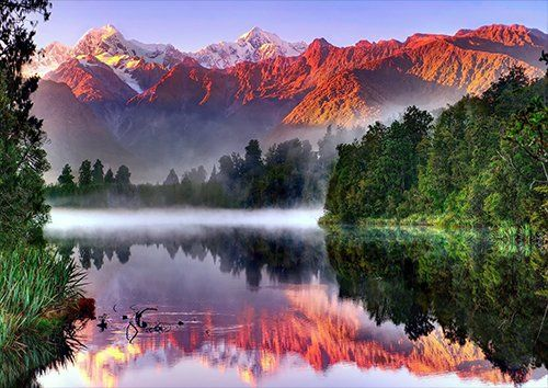 Mountains lake sunrise, Black colour - From £17.50   Metal Plate Pictures