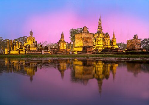 Phra nakhon si ayutthaya landscape, Black colour - From £17.50 | Metal Plate Pictures