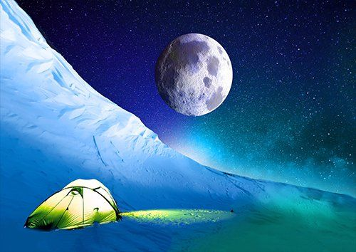 Snow sky tent camping landscape, Black colour - From £17.50 | Metal Plate Pictures