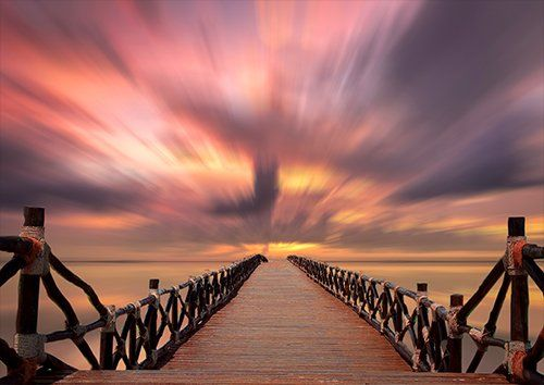 Sunset jetty landscape, Black colour - From £17.50 | Metal Plate Pictures