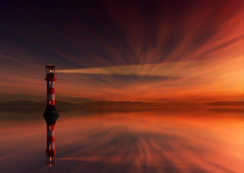 The Lighthouse sun setting, Black colour - From £17.50 | Metal Plate Pictures