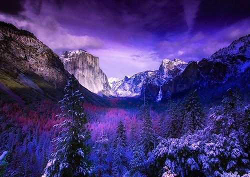 Yosemite purple, Black colour - From £17.50 | Metal Plate Pictures