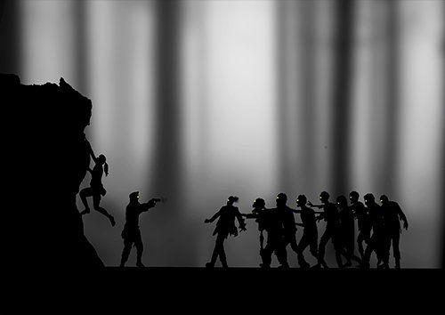 Zombie escape silhouette landscape, Black colour - From £17.50 | Metal Plate Pictures