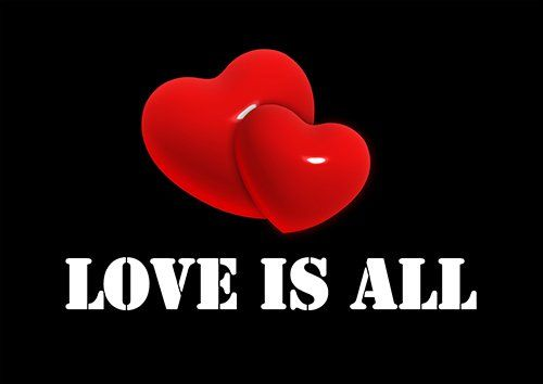 Love is all, Black colour - From £17.50 | Metal Plate Pictures