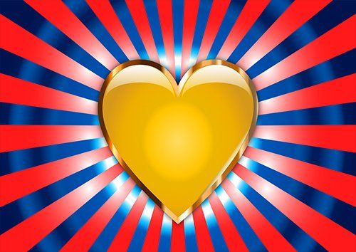 Yellow heart love, Black colour - From £17.50 | Metal Plate Pictures