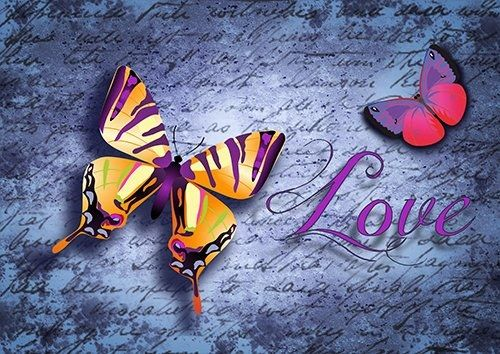 Butterfly typo text purple love, Black colour - From £17.50 | Metal Plate Pictures