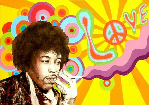 Jimmy Hendrix peace one love, Black colour - From £17.50 | Metal Plate Pictures