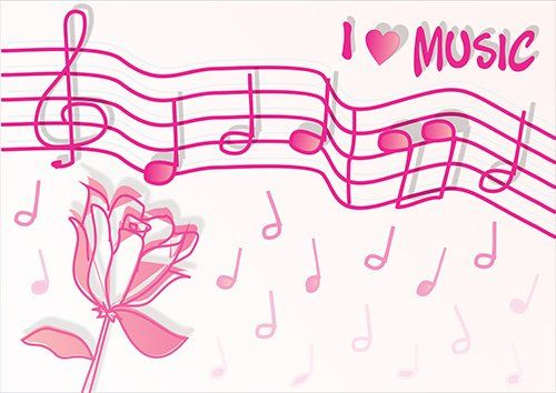 Musical notes pink love, Black colour - From £17.50 | Metal Plate Pictures