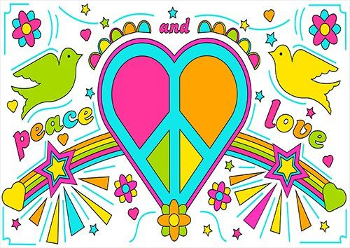 Peace and love retro love, Black colour - From £17.50 | Metal Plate Pictures