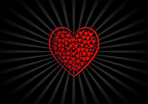 Red hearts black love, Black colour - From £17.50 | Metal Plate Pictures