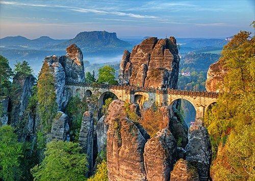 Bastei Bridge Saxon Switzerland places, Black colour - From £17.50 | Metal Plate Pictures
