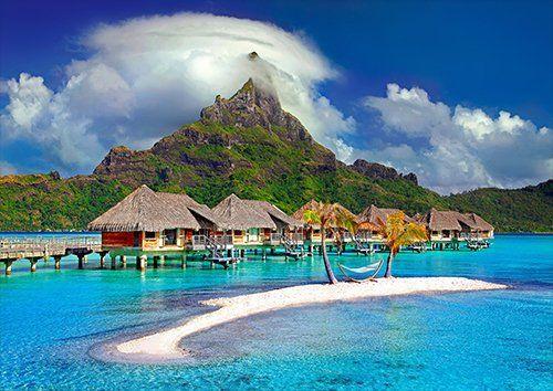 Bora Bora Island Caribbean Tahiti Polynesia places, Black colour - From £17.50 | Metal Plate Pictures