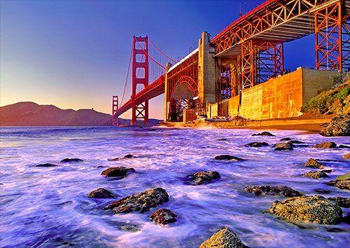 Golden Gate Bridge San Francisco Sunset California, Black colour - From £17.50   Metal Plate Pictures