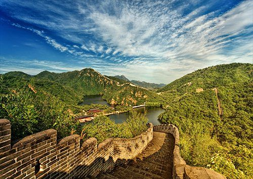 Great wall China lake places, Black colour - From £17.50 | Metal Plate Pictures