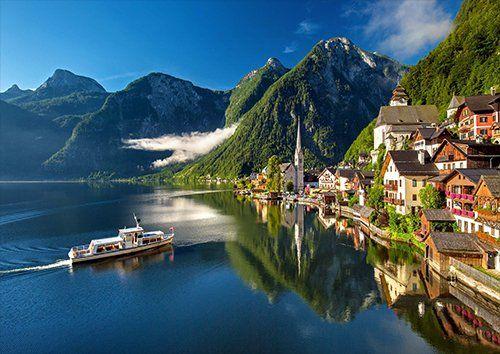 Hallstatt Austria Bergsee Lake Alpine Summer, Black colour - From £17.50 | Metal Plate Pictures
