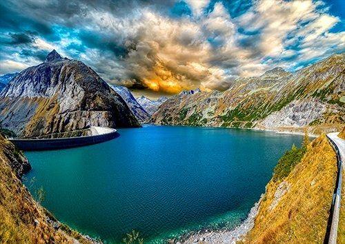 Kölnbrein Dam Austria places, Black colour - From £17.50 | Metal Plate Pictures
