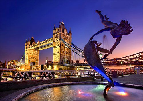 London Tower Bridge England Monument River Thames, Black colour - From £17.50   Metal Plate Pictures