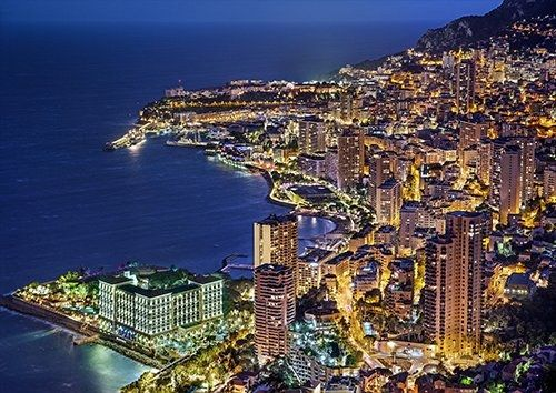 Monaco Monte Carlo France Evening places, Black colour - From £17.50 | Metal Plate Pictures