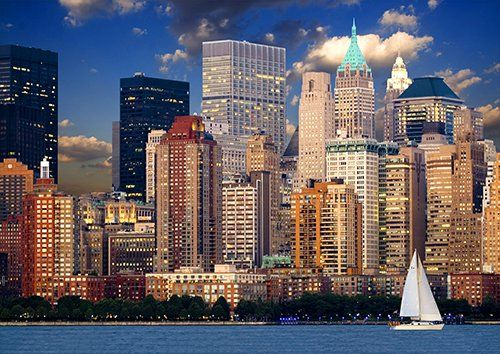 New york lake view places, Black colour - From £17.50 | Metal Plate Pictures