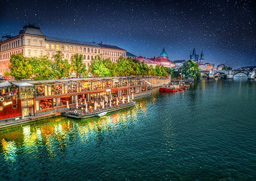 Prague riverside at night, Black colour - From £17.50 | Metal Plate Pictures