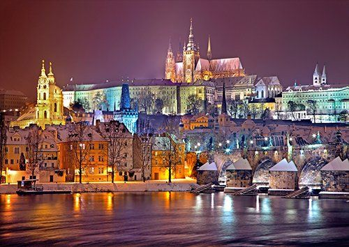 Prauge at night places, Black colour - From £20.50 | Metal Plate Pictures