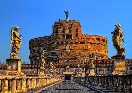 Rome Castel Sant angelo Italy places, Black colour - From £17.50 | Metal Plate Pictures