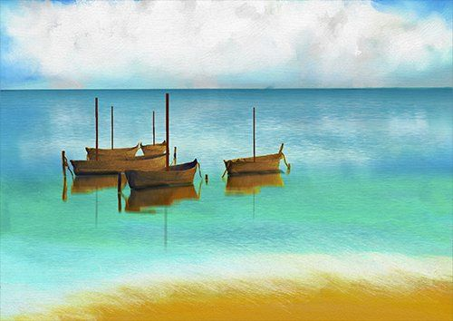 Art Nature Beauty painting seascape, Black colour - From £17.50 | Metal Plate Pictures
