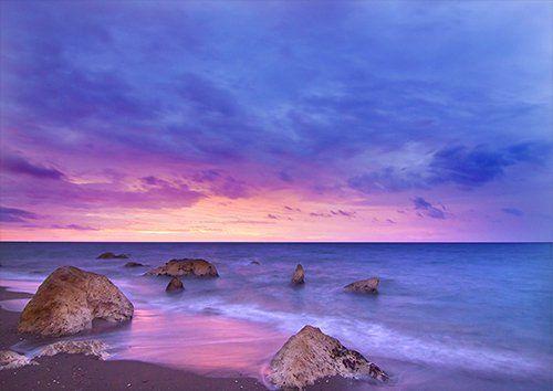 Beach Dawn Dusk Ocean Rocks Sand, Black colour - From £17.50 | Metal Plate Pictures