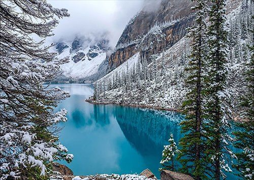 Blue lake mountains, Black colour - From £17.50 | Metal Plate Pictures