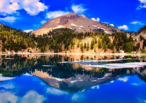 Blue Sky lassen volcanic, Black colour - From £17.50 | Metal Plate Pictures