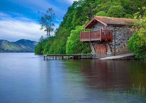 Boat House Cottage Waters Lake Scotland Blue, Black colour - From £17.50 | Metal Plate Pictures