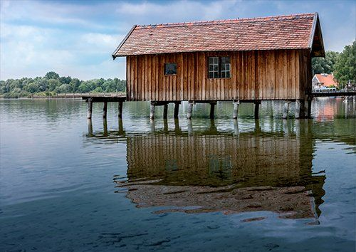 Boat House Lake Bavaria Water Jetty, Black colour - From £20.50 | Metal Plate Pictures