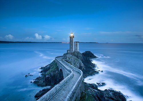 Coast Concrete Lighthouse Ocean Rocks Sea, Black colour - From £17.50 | Metal Plate Pictures