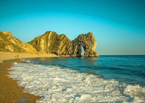 Durdle Door Rock Ocean Sky Seascape Limestone, Black colour - From £17.50 | Metal Plate Pictures