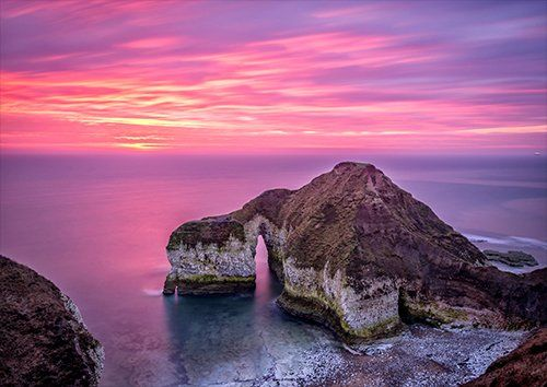 Flamborough Sea View Dusk, Black colour - From £17.50 | Metal Plate Pictures