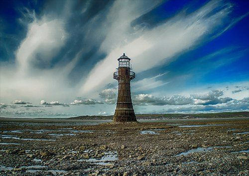Lighthouse dramatic sky, Black colour - From £17.50 | Metal Plate Pictures