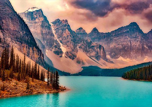 Mountains and lake moraine, Black colour - From £17.50 | Metal Plate Pictures