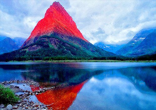 Mountain water Lake red, Black colour - From £17.50 | Metal Plate Pictures